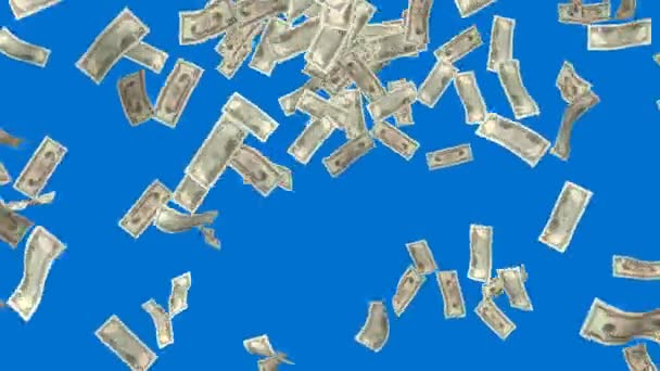 Money falling. Business and finance 3d animation. Added alpha channel. — Vidéo