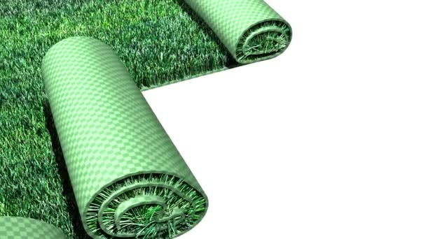 Green lawn is unfolding on white background. 3d animation for ecology and gardens — Vidéo