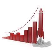 Business chart with a rocket going up. Concept 3d illustration — Stock Photo