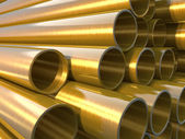 Copper round pipes.  industrial 3d illustration — Stock Photo