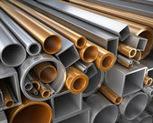 Rectangular, round and square Tube and pipe made of steel and copper — Stock Photo