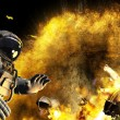 Accident in open space. Meteorite got to space ship. Astronaut was alone in space — Stock Photo #64678531
