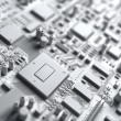 Fantasy circuit board. Art of electronics technology — Stock Photo #64679997