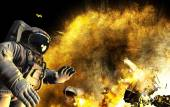 Accident in open space. Meteorite got to space ship. Astronaut was alone in space — Stock Photo