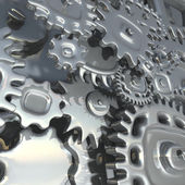 Fantasy metallic mechanism made of silver gears.   Abstract industrial 3d illustration — Stock Photo