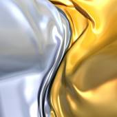 Gold and silver cloth background. Similar to yin yang symbol — Stock Photo