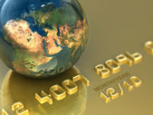 Abstract international gold credit card. Business illustration — Stock Photo