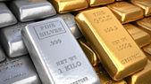 Silver ingot and  gold bullion. Finance illustration — Stock Photo