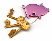 Piggy bank - keychain and different keys. Key to the house, car and money. Conceptual finance illustration — Stock Photo