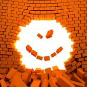 Hole in wall of  red bricks like smile — Foto Stock