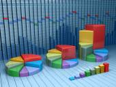 Stock market data with different graphs and charts. Business 3d illustration — Stock Photo