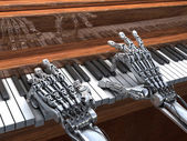 Robot plays the piano.  High Technology 3d illustration — Stock Photo