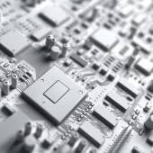 Fantasy circuit board. Art of electronics technology — Stock Photo