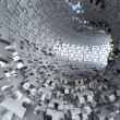 Tunnel made of metallic puzzles.  Conceptual 3d illustration, — Stock fotografie #64680677