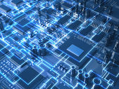Fantasy circuit board or mainboard with glowing schemes. Top view. 3d illustration — Stock Photo