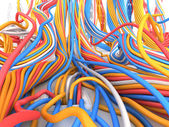 Big network. Many wire and cable in vinyl environment. Technology illustration — Stock Photo