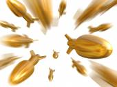Fantasy gold bullets fly to camera — Stock Photo