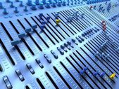 Fantasy Professional mixing console in studio. 3d illustration — Stock Photo