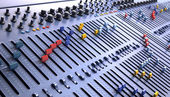 Fantasy Professional mixing console in studio. 3d illustration — Photo