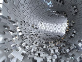 Tunnel made of metallic puzzles.  Conceptual 3d illustration, — Stock Photo