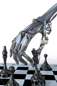 Robot or cyborg plays a chess. High technology 3d illustration — Stock Photo