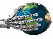 Robot holding the Earth globe. Planet in hands at high technology. Concept — Stock Photo
