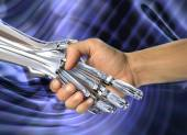 Robot and human handshake.  Friendship between high technology and people — Stock Photo