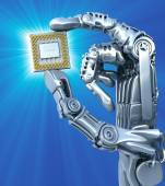 Robot holding fantasy Chip or processor. High technology 3d illustration — Stock Photo