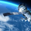 Space Station or spacecraft travels in orbit around the planet Earth. — Stock Photo #64757291