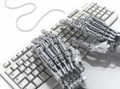 Robô funciona no teclado. Ilustração 3d futurista — Fotografia Stock