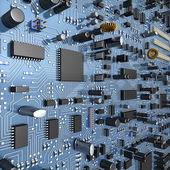 Fantasy circuit board or mainboard with microcircuits and processors. Technology  illustration — Stock Photo