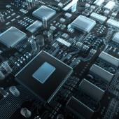 Fantasy circuit board or mainboard with  microcircuits and processors. — Stock Photo