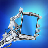 Robot arm holding modern fantasy smart phone with empty touch screen. — Stock Photo