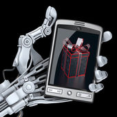 Robot holding smart phone with gift box on screen — Stock Photo