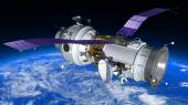 Space Station or spacecraft travels in orbit around the planet Earth. — Stock Photo
