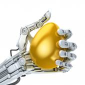 Robot hand  holding a golden Easter egg. Conceptual  illustration — Stock Photo