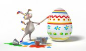 Funny Easter Bunny paints on eggs on white background. Holiday  illustration — Stock Photo