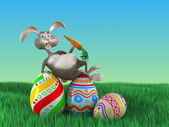 Cartoon Easter rabbit  lays on eggs in park. Funny 3d illustration — Stock Photo