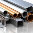 Rectangular, round and square Tube and pipe made of steel and copper — Stock Photo #66537561