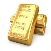 Set of fine gold bars on white background.  Finance 3d illustration — Stock Photo