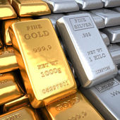 Silver ingot and  gold bullion. Finance illustration — Stock Photo