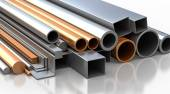 Rectangular, round and square Tube and pipe made of steel and copper — Foto Stock