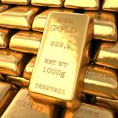 Set of fine gold bars. Finance 3d illustration — Stock Photo