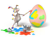 Cartoon Easter Bunny as abstract artist is painting on a egg on white background. Holiday illustration — Stock Photo