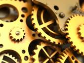 Fantasy golden clockwork. Industrial background — Stock Photo