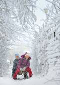 Boy And Girl at sledging Through Snowy — Stock Photo