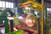 Steel coil processing machine — Stock Photo