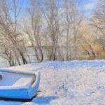Blue boat on danube river — Stock Photo #64741341