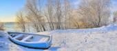 Blue boat on danube river — Stock Photo