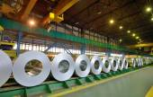 Rolls of steel sheet in a plant — Stock Photo